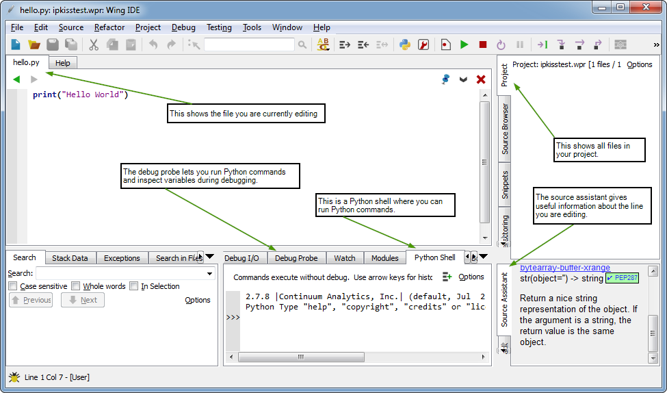 The editor main window with annotations.