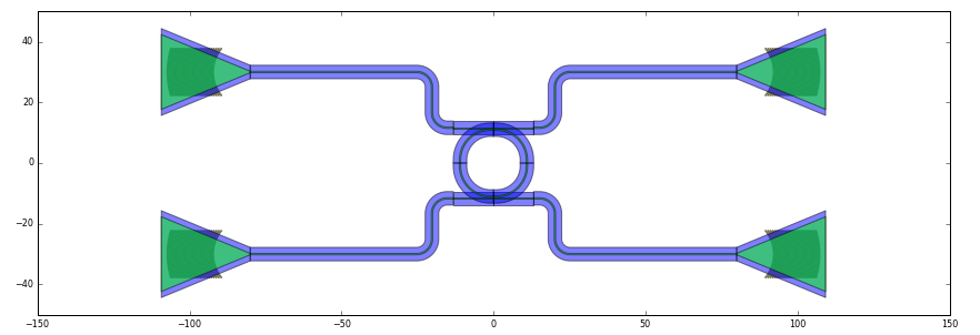 Layout of a connected ring_resonator.